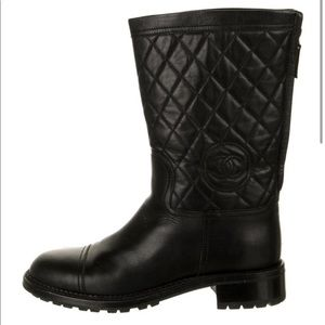 Chanel quilted moto boots black, great condition